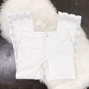 Boston Proper Pure White Studded Scalloped Jean 14